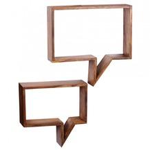 Wohnling 2er Set Wandregale Massivholz Sheesham Cubes