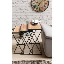 Wohnling 3er Set Design Beistelltische AKOLA Akazie Satztische Metallbeine, Anstelltische aus Massivholz
