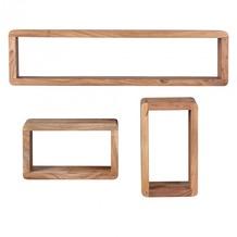 Wohnling Akazie Massivholz 3er Set Wandregale Cubes