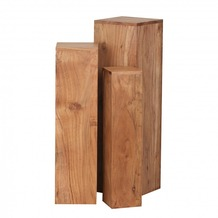 Wohnling Akazie Massivholz Beistelltische 3er Set Säule Neu