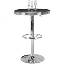 Wohnling American Diner Bartisch ELVIS rund Ø 60cm Aluminium Kunstlederbezug Retro USA Schwarz/Silber