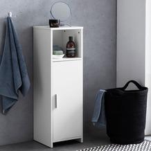 Wohnling Badschrank 30 x 95,5 x 30 cm weiß Holz mit Tür und Ablagefach, Kleiner Bad-Schrank Beistellschrank stehend, Badregal schmal freistehend Badezimmerkommode, Badmöbel Badezimmermöbel weiß