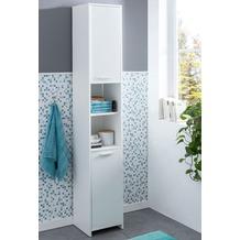 Wohnling Badschrank WL5.751 Modern Holz 30,5 x 190 x 30 cm Weiß, Badezimmerschrank mit 2 Türen, Beistellschrank Mehrzweckschrank, Bad Schrank Schmal, Badezimmer Standregal Hoch weiß