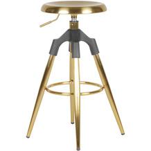 Wohnling Barhocker Gold Metall 72-80 cm, Design Barstuhl 100 kg Maximalbelastbarkeit, Tresenhocker Industrial, Tresenstuhl ohne Lehne gold