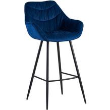 Wohnling Barhocker Samt Blau Hocker 56x108x59 cm