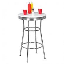 Wohnling Bartisch rund ELVIS Ø 60 cm American Diner MDF Holz & Alu Stehtisch Design Partytisch Retro USA