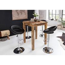 Wohnling Bartisch RUSTICA 80 x 80 x 110 cm Vintage Massiv-Holz Küchenbartisch, Design Landhaus Stehtisch, Hochtisch Shabby-Chic aus Mango Holz