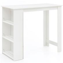 Wohnling Bartisch WL5.732 Weiß 120 x 107,5 x 60 cm Stehtisch Holz, Bartresen mit integriertem Regal, weiß
