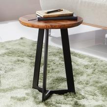 Wohnling Beistelltisch 35x45x35 cm WL5.664 Sheesham Holz Metall Couchtisch, Industrial Style Echtholz Hocker