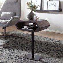 Wohnling Beistelltisch 45 x 62 x 35 cm WL5.666 Akazie Metall Anstelltisch Grau, Industrial Style Tischchen Wohnzimmer, Holztisch mit Metallbeinen, Abstelltisch Blumentisch Naturholz, Dekotisch  grau