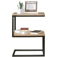Wohnling Beistelltisch AKOLA S-Form Massiv-Holz Akazie / Metall 45 x 60 x 30 cm, Design Wohnzimmertisch