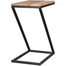 Wohnling Beistelltisch AKOLA Z-Form Massiv-Holz Akazie / Metall 45 x 62 x 32 cm, Design Wohnzimmertisch Landhaus-Stil, Anstelltisch Ablagetisch eckig