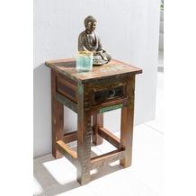 Wohnling Beistelltisch KALKUTTA 30 x 30 x 50 cm Massiv-Holz Nachttisch mit Ablage & Schub Nachtkommode Shabby Nachtschrank Mango Recycling Bootsholz