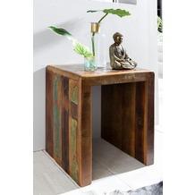 Wohnling Beistelltisch KALKUTTA 45 x 40 x 55 cm Massiv-Holz Mango Recycling Shabby Kleiner Wohnzimmertisch Nachttisch Bootsholz Nachtkonsole