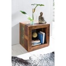 Wohnling Beistelltisch DELHI Shabby Chic Recycling Mango Massiv-Holz Ablagetisch Bootsholz, Kleiner Tisch für Wohnzimmer 45 x 45 x 35cm, Design Wohnzimmertisch Cube Form