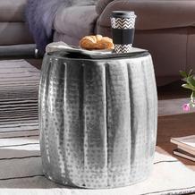 Wohnling Beistelltisch JAMAL 38x42x38 cm Aluminium Silber Orientalisch Rund, Kleiner Sofatisch Metall, Designer Ablagetisch Modern, Anstelltisch Schmal, Wohnzimmertisch Couchtisch silber