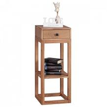 Wohnling Beistelltisch Massivholz Akazie Anstelltisch Telefontisch mit Schublade 35 x 35 x 90 cm