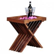 Wohnling Beistelltisch Massivholz Sheesham Design Klapptisch Serviertablett und Tisch-Gestell klappbar