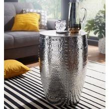 Wohnling Beistelltisch PEDRO 41,5x62x41,5cm Aluminium Silber Dekotisch orientalisch rund, silber