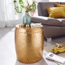 Wohnling Beistelltisch PEDRO 42x49x42cm Aluminium Gold Dekotisch orientalisch rund, Kleiner Hammerschlag Abstelltisch, Designer Ablagetisch Metall modern, Anstelltisch schmal gold