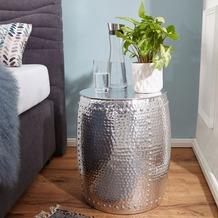 Wohnling Beistelltisch PEDRO 42x49x42cm Aluminium Silber Dekotisch orientalisch rund, Kleiner Hammerschlag Abstelltisch, Designer Ablagetisch Metall modern, Anstelltisch schmal silber