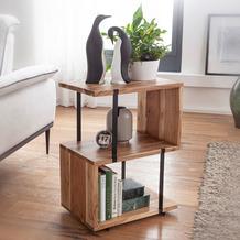 Wohnling Beistelltisch S-Form 45x60x30cm Akazie Metall Ablagetisch, Tischchen Wohnzimmer Industrial, Holztisch mit Metallbeinen, Dekotisch Holz