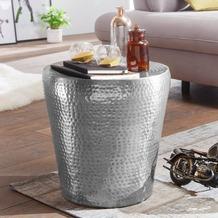 Wohnling Beistelltisch VIKRAM 41x41x41cm Aluminium Silber Dekotisch rund, mit Hammerschlag aus Metall