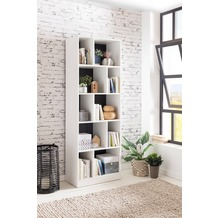 Wohnling Bücherregal ALEX 181 x 62 x 34 cm Holz Weiß, Modernes Standregal mit 10 Fächern, Aufbewahrungsregal Universal Regal für Bücher & Ordner, Aktenregal