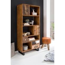 Wohnling Bücherregal PATNA 180 x 80 x 35 cm Massiv Holz Mango Natur mit Schubladen, Landhaus-Stil Standregal groß 5 Fächer, Holzregal Wandregal