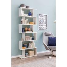 Wohnling Bücherregal WL5.691 70 x 23,5 x 190,5 cm weiß, Standregal 6 Fächer, Kleine Design Kommode
