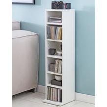 Wohnling CD-Regal Holz 21x90x20 cm, Standregal, mit 6 Fächern offen, in weiß