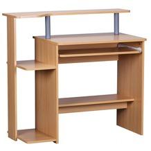 Wohnling Computertisch Dennis Buche Dekor mit viel Ablage