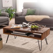 Wohnling Couchtisch 100x40x50 cm Sheesham Massivholz / Metall Sofatisch, Design Wohnzimmertisch Rechteckig
