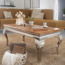 Wohnling Couchtisch 110x45,5x60 cm Wohnzimmer Modern Sheesham Massivholz, Design Wohnzimmertisch