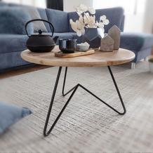 Wohnling Couchtisch 60x39,5x60 cm Akazie Massivholz / Metall Sofatisch, Design Wohnzimmertisch Rund, Kaffeetisch Massiv, Kleiner Tisch Wohnzimmer