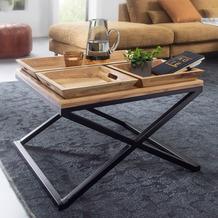 Wohnling Couchtisch 60x47,5x60 cm Akazie Massivholz Tabletttisch quadratisch, mit Gestell aus Metall