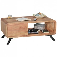 Wohnling Couchtisch BOHA Massivholz Akazie Wohnzimmertisch 110 cm Holztisch mit Schubladen Landhaus Naturprodukt Kaffeetisch