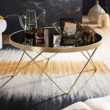 Wohnling Couchtisch DANA Ø 82 cm Schwarz / matt Gold Beistelltisch, Glastisch mit Metallgestell