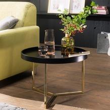 Wohnling Couchtisch EVA 58,5x42x58,5cm Schwarz / Gold Tabletttisch rund, mit Metallgestell