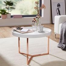 Wohnling Couchtisch EVA 58,5x42x58,5cm Weiß / Kupfer Tabletttisch rund, mit Metallgestell