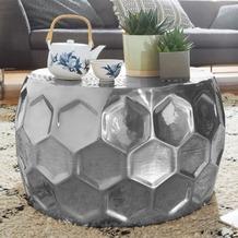 Wohnling Couchtisch HONEYCOMB 60x36x60 cm Aluminium Anstelltisch Orientalisch Silber Rund, silber