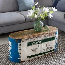 Wohnling Couchtisch INDRA 84x37x29cm Metall / Holz Beistelltisch Shabby-Chic, Design Stubentisch Vintage klein, Wohnzimmertisch Sofatisch schmal, Kaffeetisch massiv, Kleiner Metalltisch gelb
