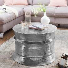 Wohnling Couchtisch KARAM 62x41x62cm Aluminium Silber Beistelltisch rund, mit Hammerschlag aus Metall