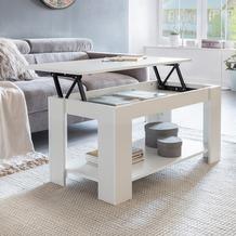 Wohnling Couchtisch LAYLA Weiß Holz 100 x 50 x 50 cm höhenverstellbar