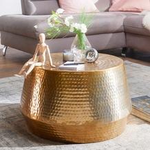Wohnling Couchtisch MAHESH 60x36x60 cm Aluminium Beistelltisch Gold rund, mit Hammerschlag aus Metall