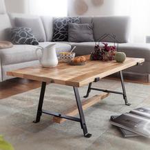 Wohnling Couchtisch Mango Massivholz 115x42x60 cm Tisch mit Metallgestell, Sofatisch Rechteckig Industrial Design, Massiver Wohnzimmertisch Modern