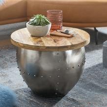 Wohnling Couchtisch Mango Massivholz / Metall 60x43x60 cm Industrial Style Rund, silber