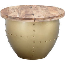 Wohnling Couchtisch Mango Massivholz / Metall 60x43x60 cm Industrial Style Rund, gold