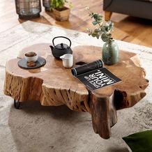 Wohnling Couchtisch NAKUR 104x30x69 cm Akazie Vollholz Design Wohnzimmertisch, Tisch Stubentisch Baumscheibe, Sofatisch Holztisch Wohnzimmer, Designer Echtholztisch massiv, Kaffeetisch groß akazie