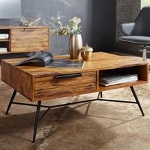 Wohnling Couchtisch NISHAN 87 x 41 x 55 cm Sheesham Massiv Holz, Design Holztisch mit Stauraum und Schublade
